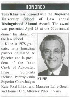 Tom Kline awarded 'Distinguished Alumnus Award'